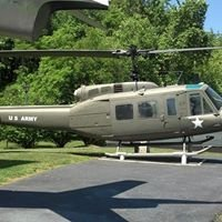 The helicopter on display at the memorial.
