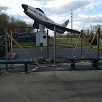 The airplane on display at the memorial.