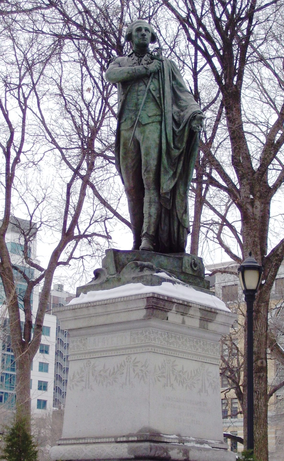 "This statue made of bronze honors Marquis de Lafayette. He was a French aristocrat who became an Army General in the United States and fought on behalf of American rebels during the American Revolutionary War. The statue was casted in 1873 by French sculptor Frédéric Auguste Bartholdi, and was dedicated in 1876. The statue can be found in Union Square Park in Manhattan, New York. It is located on Park Avenue South and 16th street and is always free and open to the public. The piece is a sign of appreciation from the French government for help that the state of New York gave to Paris during the Franco-Prussian War. It is inscripted with the words, ""in remembrance of sympathy in times of trial."""