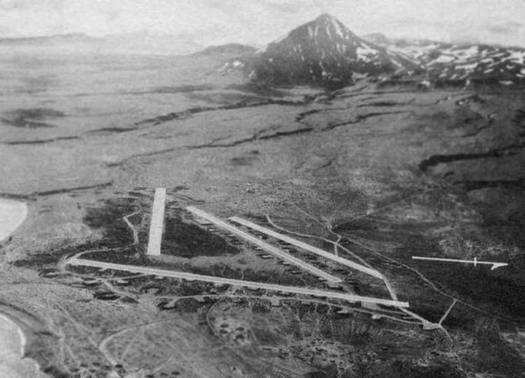 Aerial view of the airfields at Fort Glenn
