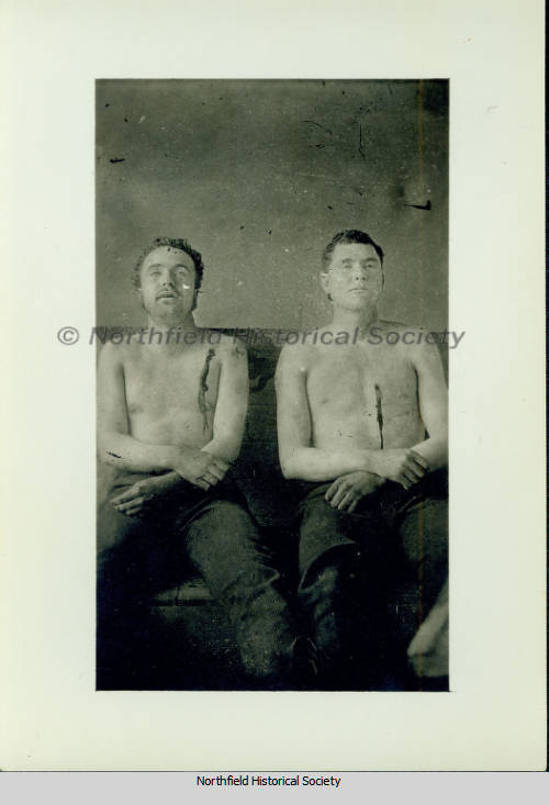 Bodies of Clell Miller and Bill Chadwell on display, 1876