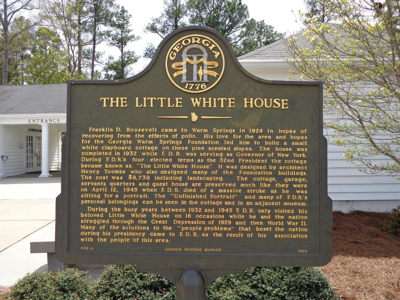 The Georgia State Marker placed at the entrance to the Little White House's gift shop and ticket office