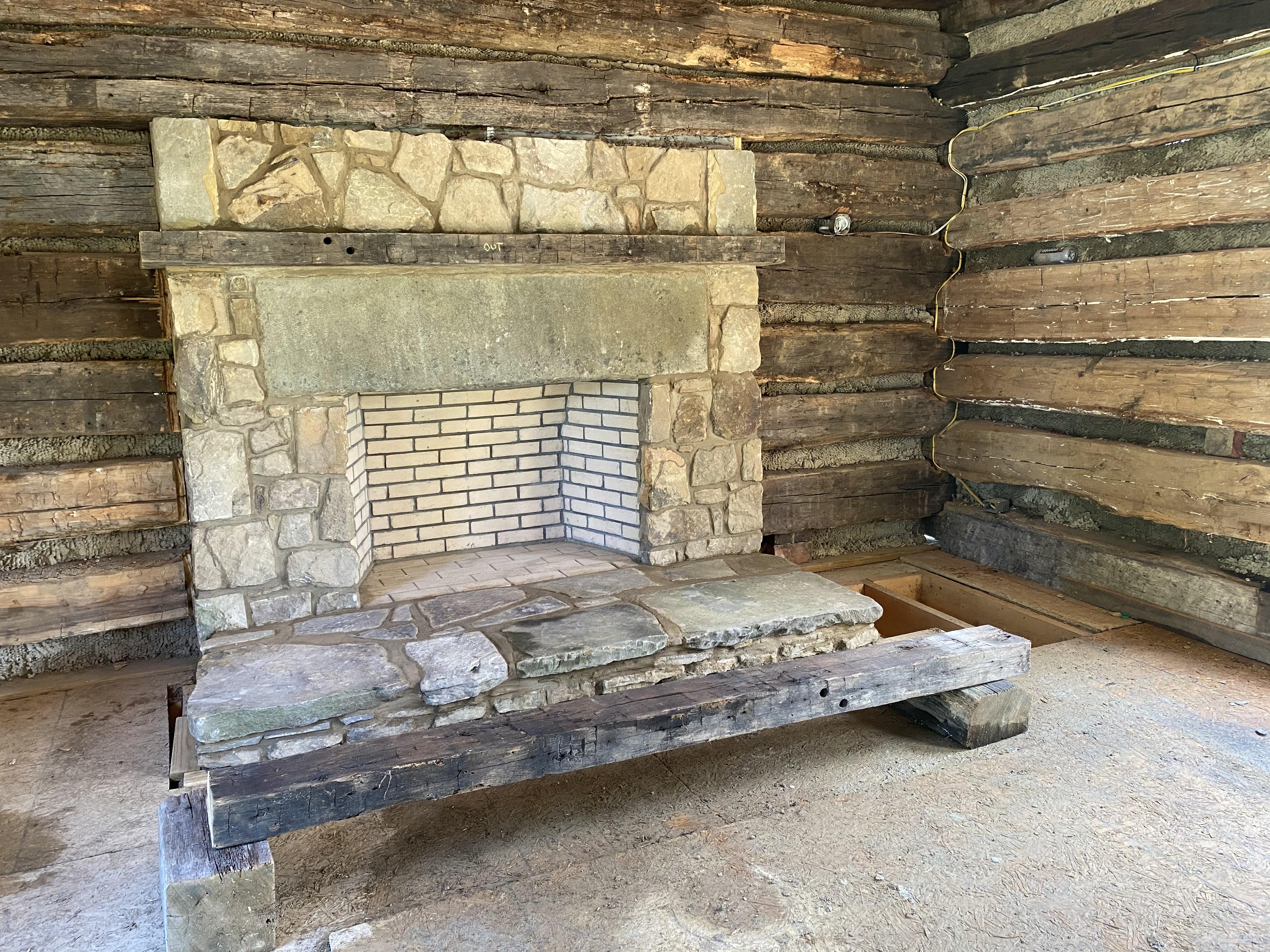 Progress of the stone fireplace