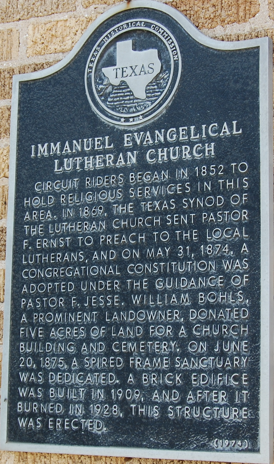 The Immanueal Evangelical Lutheran Church Historical Marker