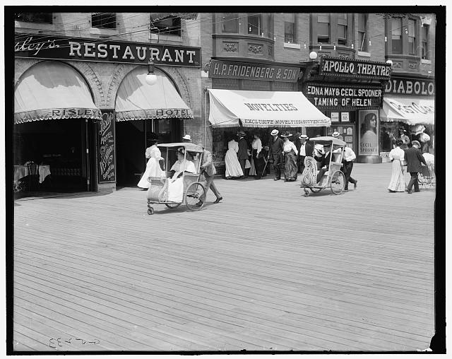 Rolling chairs on the Boardwalk (circa 1900)