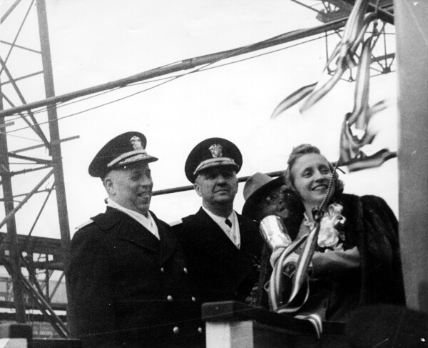 Margaret Truman; daughter of then vice-president Harry Truman christens the USS Missouri on 29 January 1944