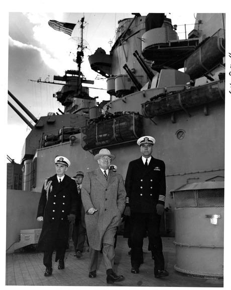 President Harry S. Truman on board the USS Missouri