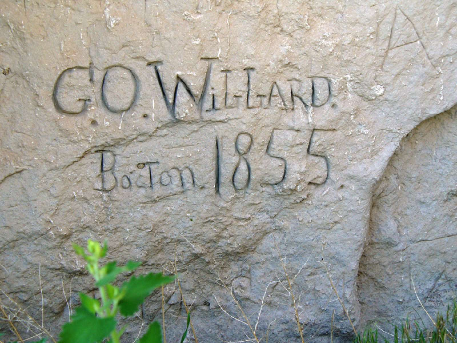 A member of the Willard family from Boston passed this way in 1855.