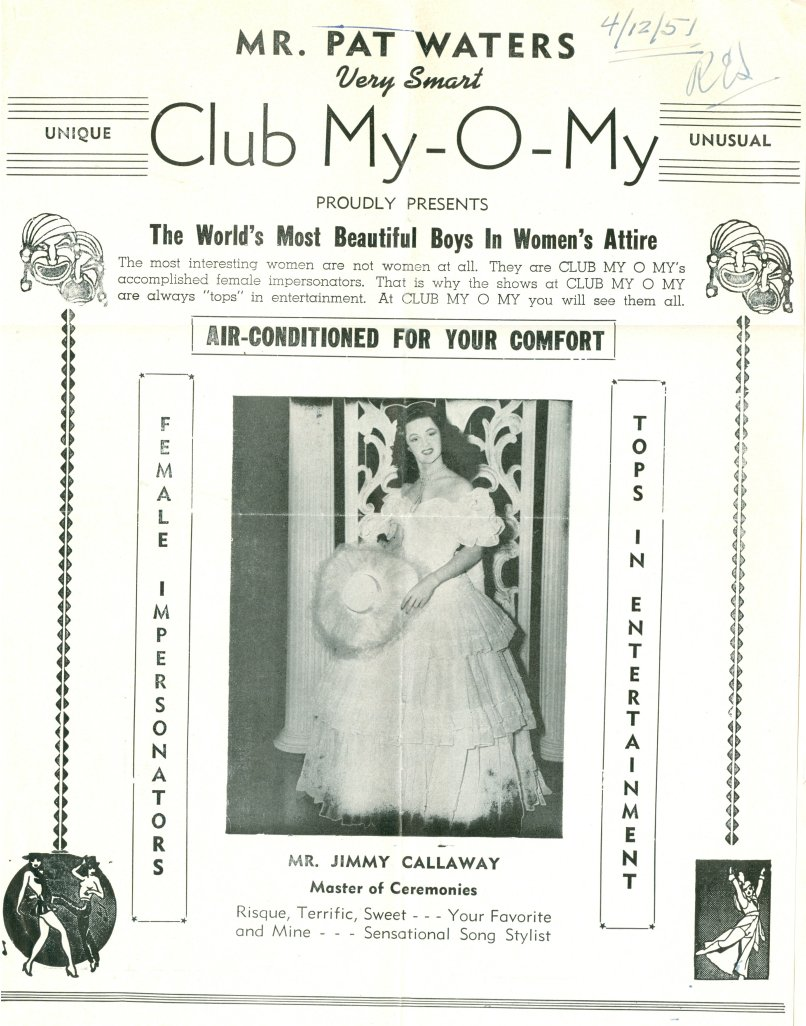 A 1951 flyer for Club My-O-My, featuring performer Mr. Jimmy Callaway.