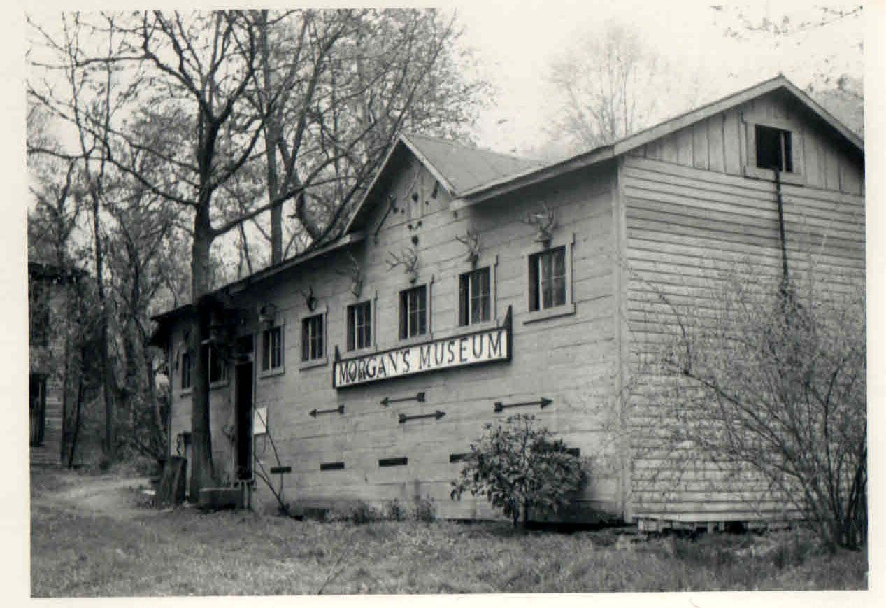 Sid Morgan's Museum, 1960. This stood near the original cabin location in Putnam county on the Morgan Farm. The items inside were moved in 1972 to the Mason County Museum and are still there today.