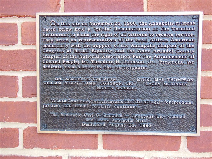 The Plaque memorializing the advocates of the Annapolis Sit-In