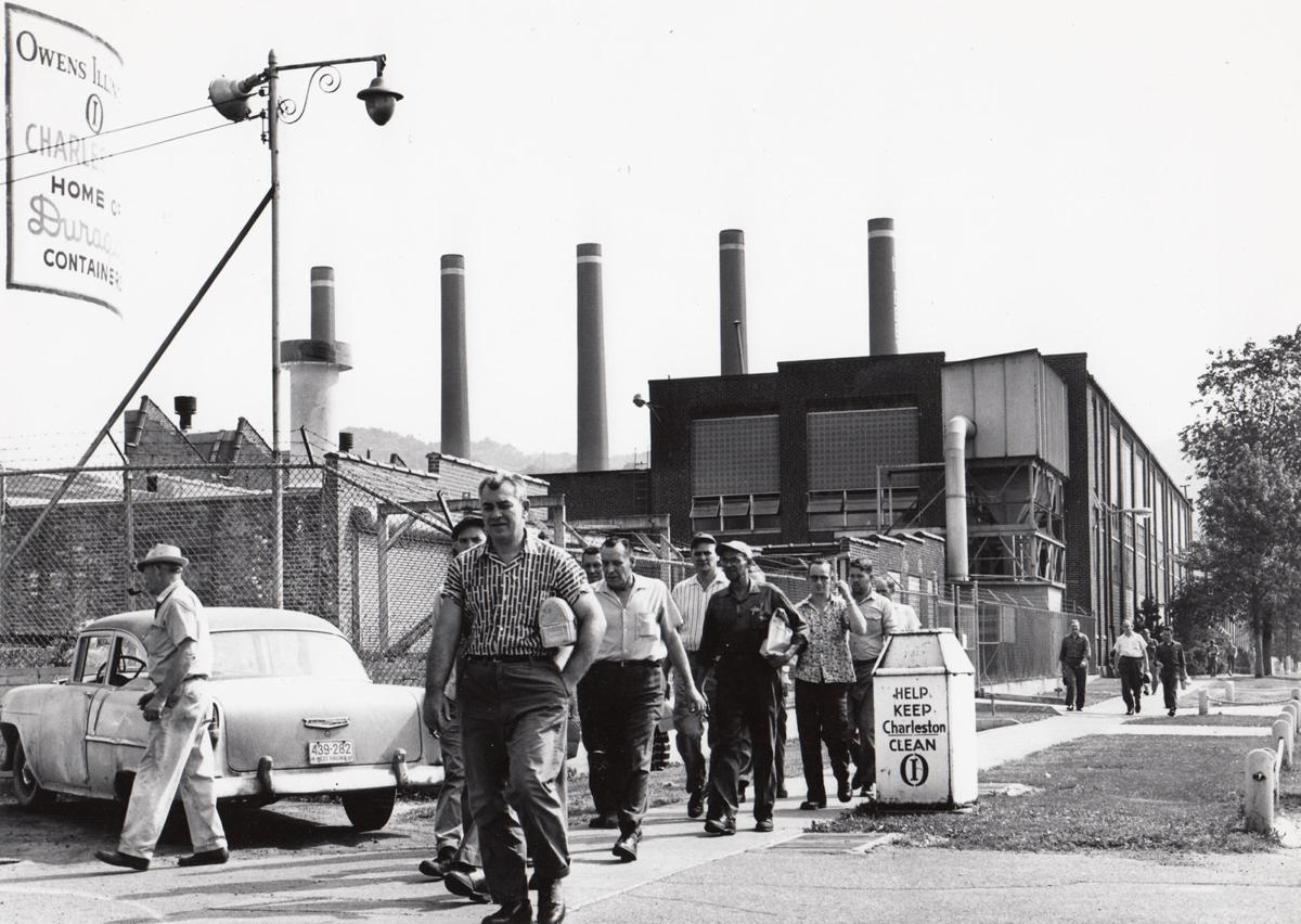 Workers leave the Owens-Illinois bottling plant, in Kanawha City, on May 18, 1962