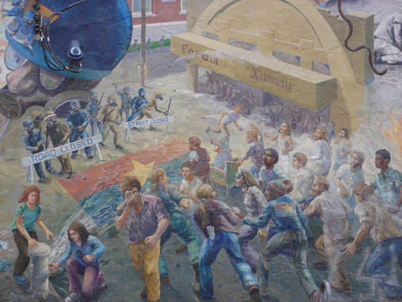 """""""A People's History of Telegraph Avenue"""" mural depicting protestors being tear-gassed during the People's Park demonstrations"""