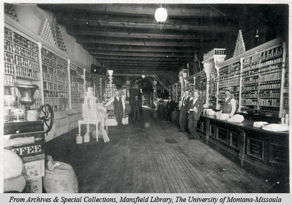 Image of the interior of the grocery department of the Missoula Mercantile Co. circa 1910. Image courtesy of mtmemory.org