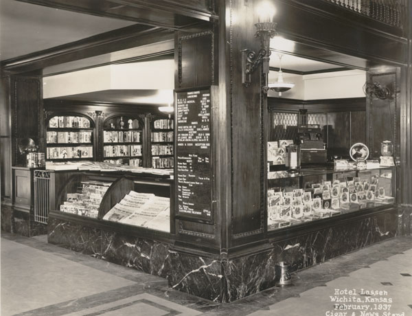 1937 photo of the cigar and newsstand, photo credit: Wichita-Sedgwick County Historical Museum
