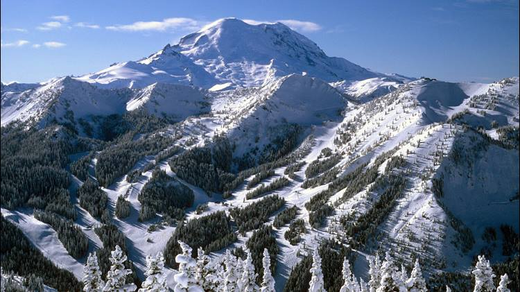 Crystal mountain in the winter