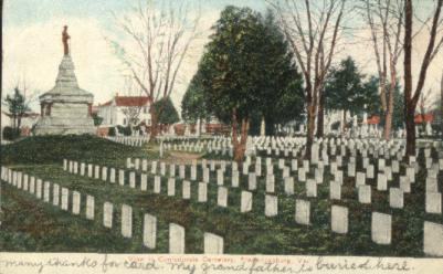 "1908 postcard of cemetery. Handwriting states: ""My Grandfather is buried here."""