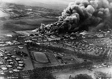 An aerial view of the attack on Wheeler Army Airfield