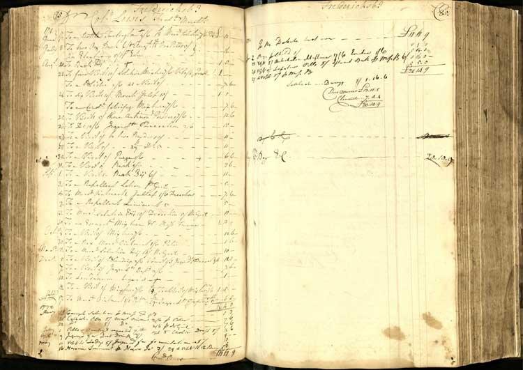 Hugh Mercer's ledger book (image from Duke University)