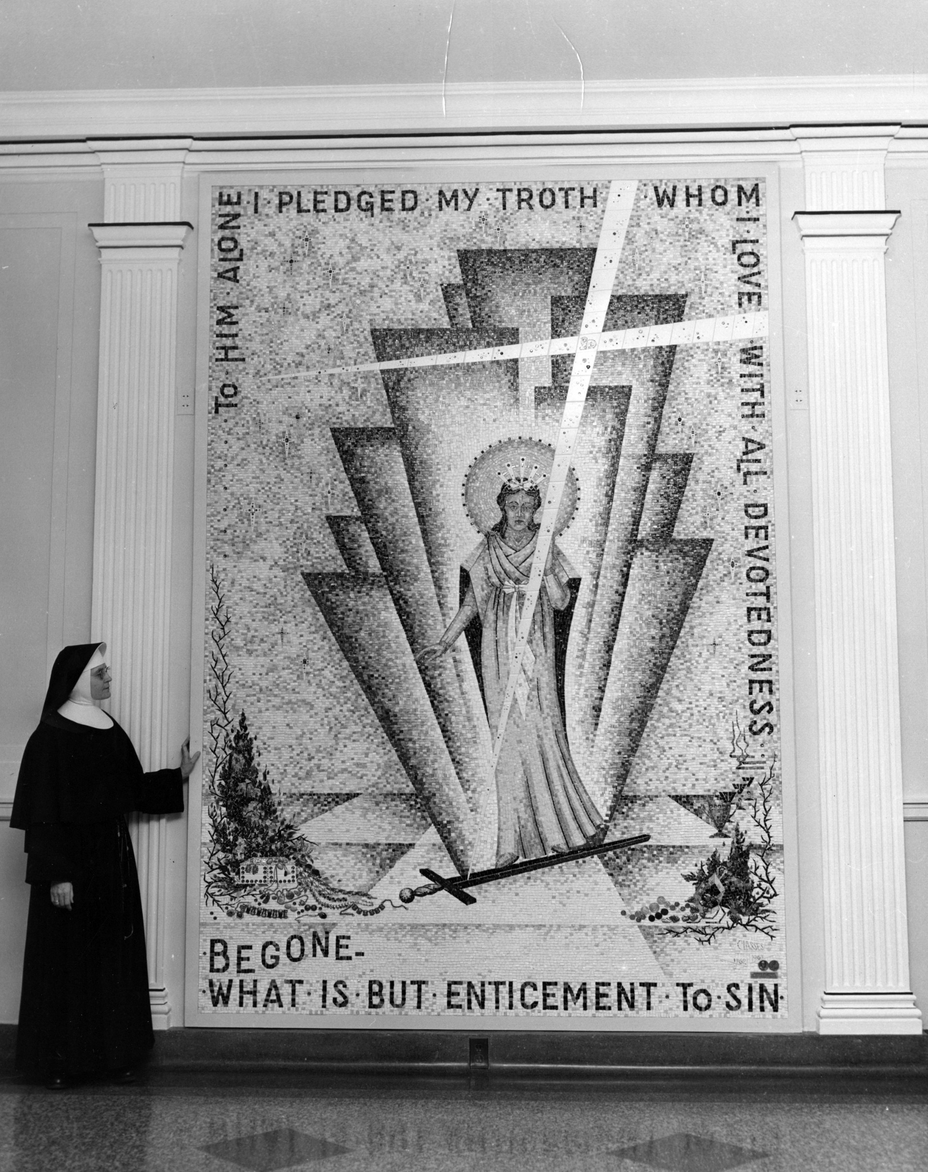 Sister Agnessa Ruder with the mosaic she created for St. Mary's Springs Academy, 1960s.