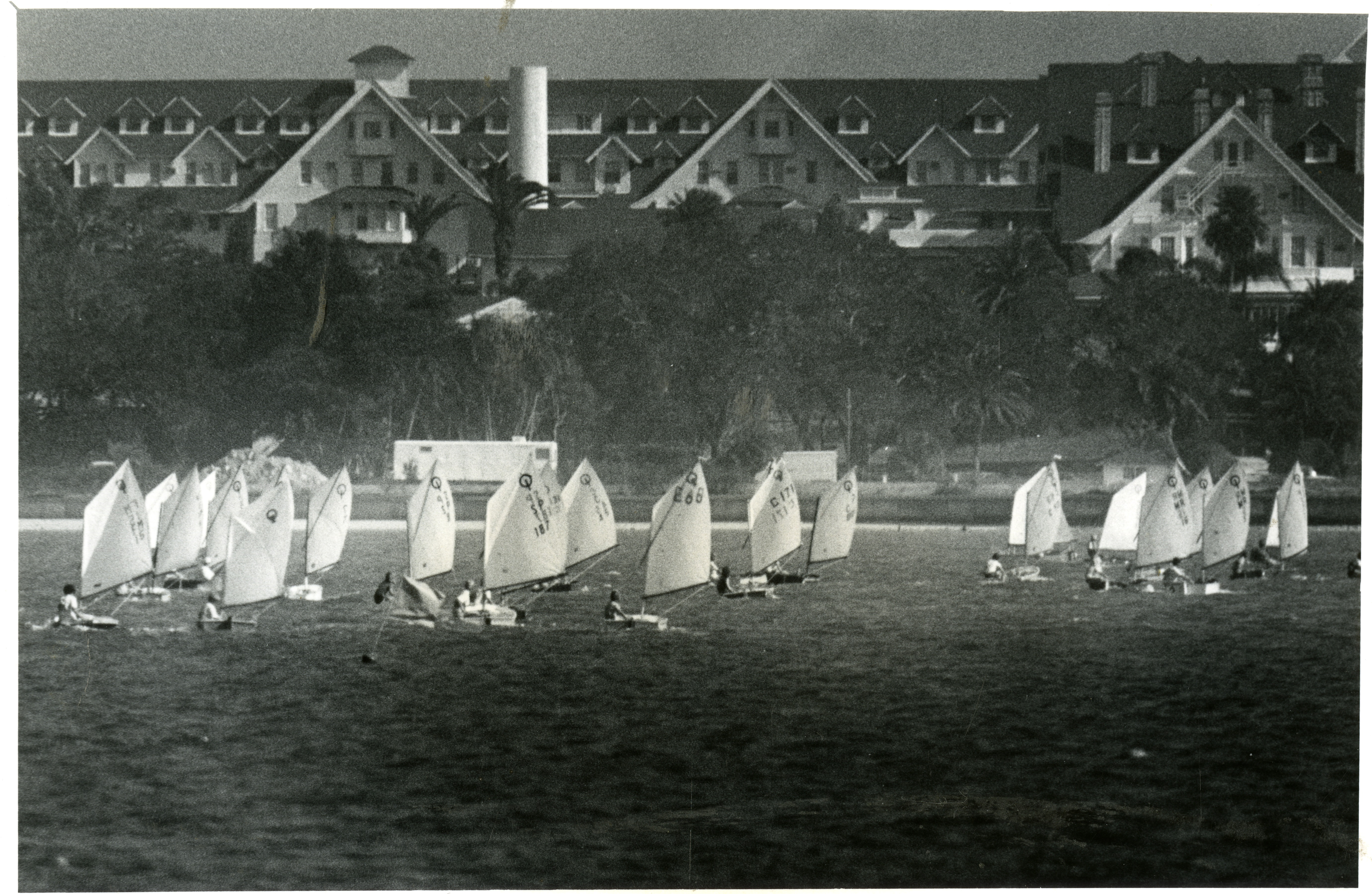 Clark Mills Youth Regatta with Belleview Biltmore in the background, Belleair, Florida, circa 1978.