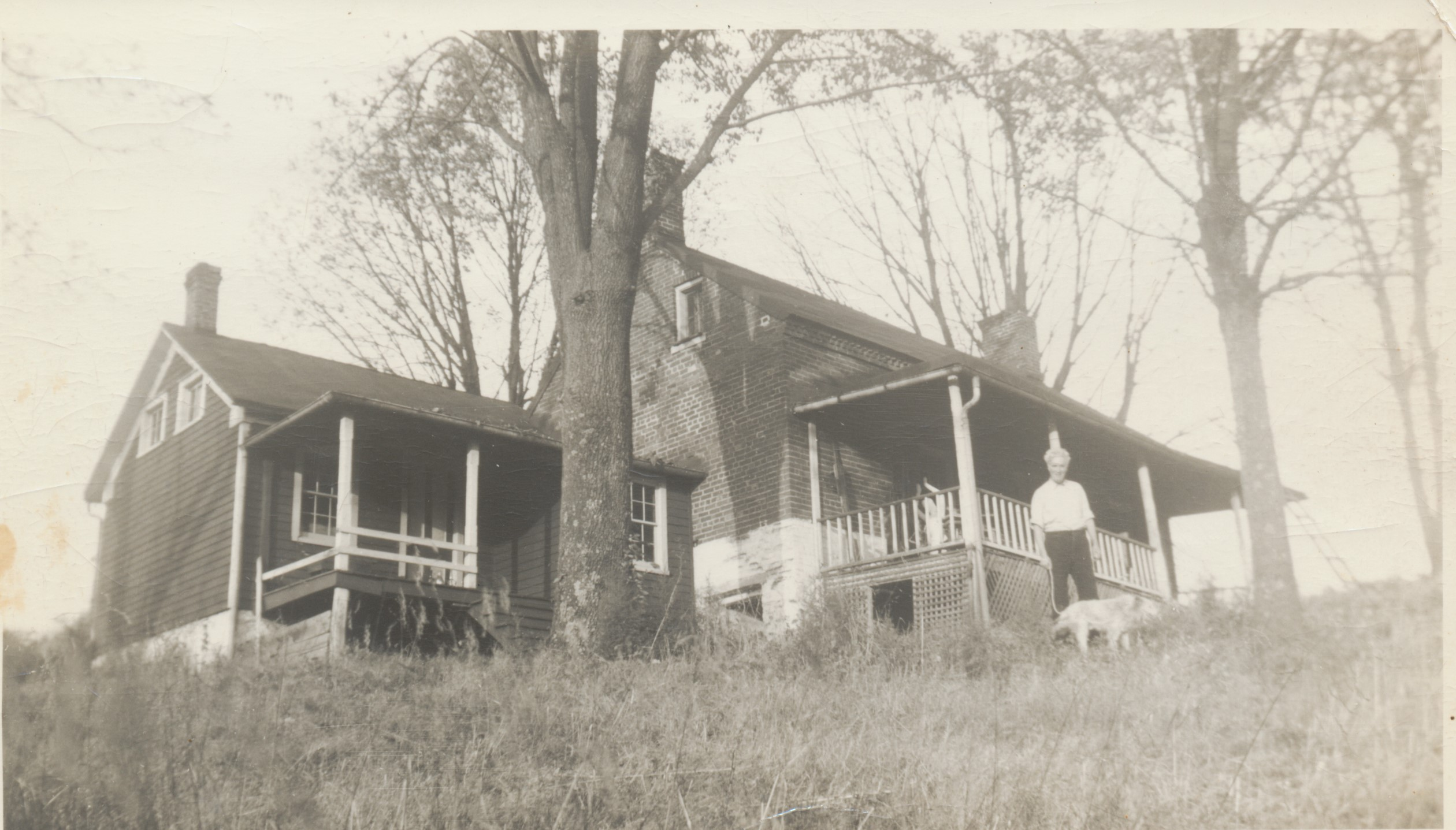Richard Lahey, the external kitchen, and the house in fall 1940