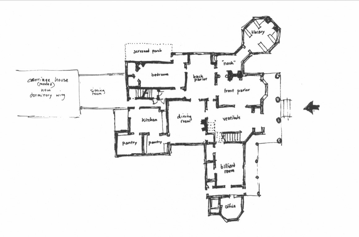 Sketch of first floor plan of Plumb House from NRHP nomination (Cawthon 1984)