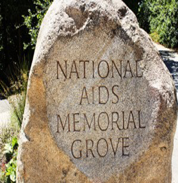National AIDS Memorial Grove marker, a signature boulder that is located near the entrance to the site