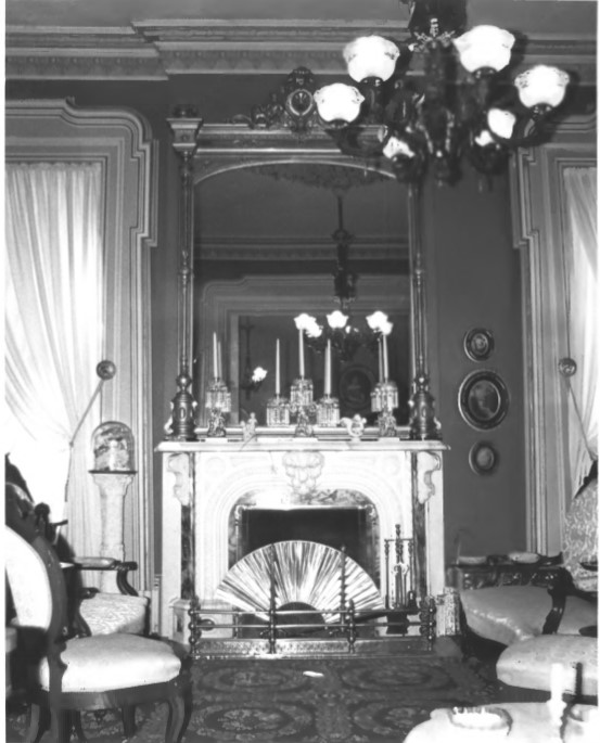 Drawing room fireplace in Ball House, NRHP nomination photo (Mohler 1982)