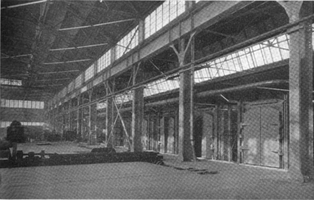 Row of furnaces inside the mill, 1922