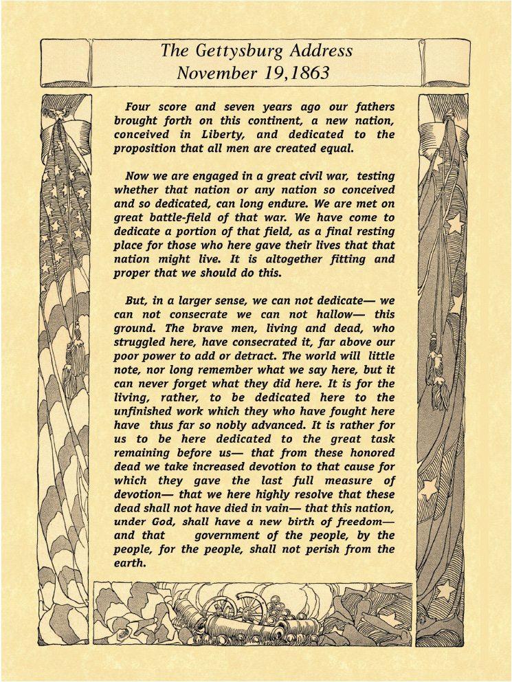 Copy of President Abraham Lincoln's Gettysburg Address