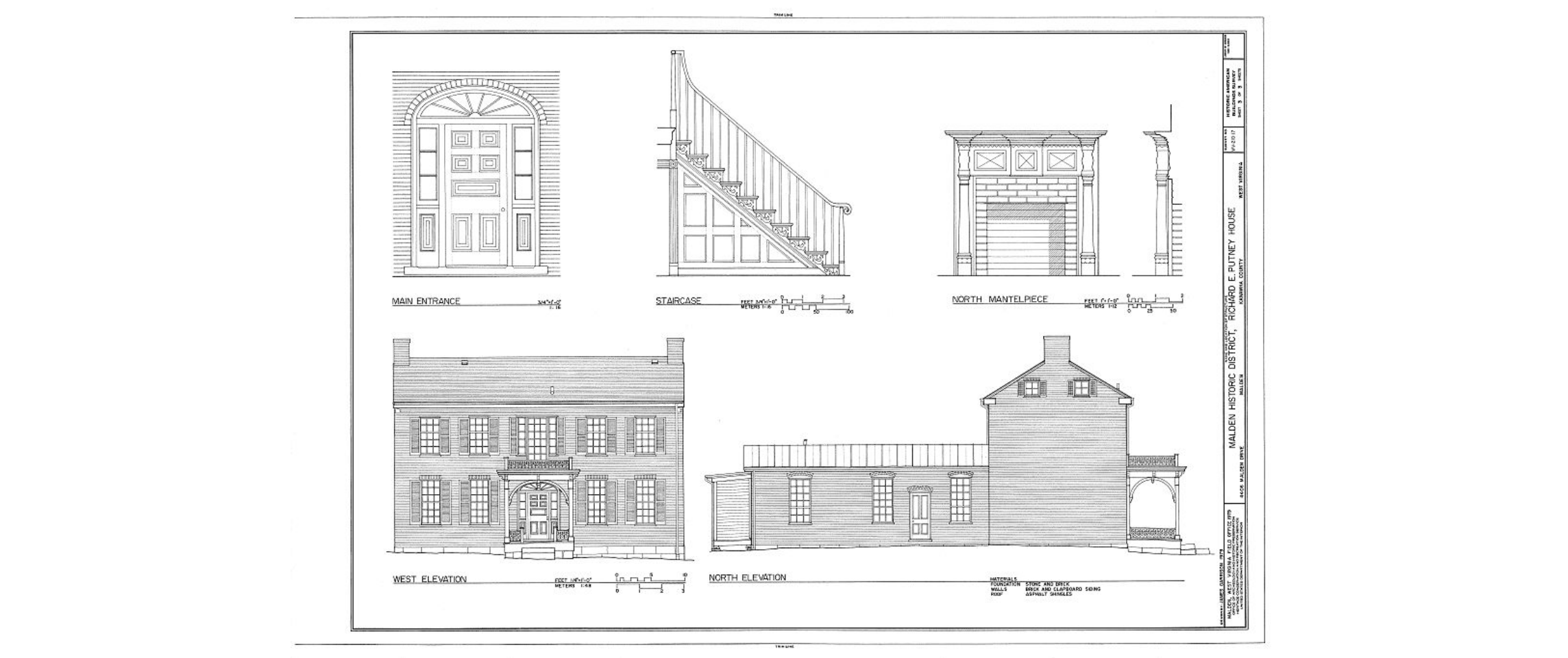 Architectural sketches of the Putney House, from the Historic American Buildings Survey