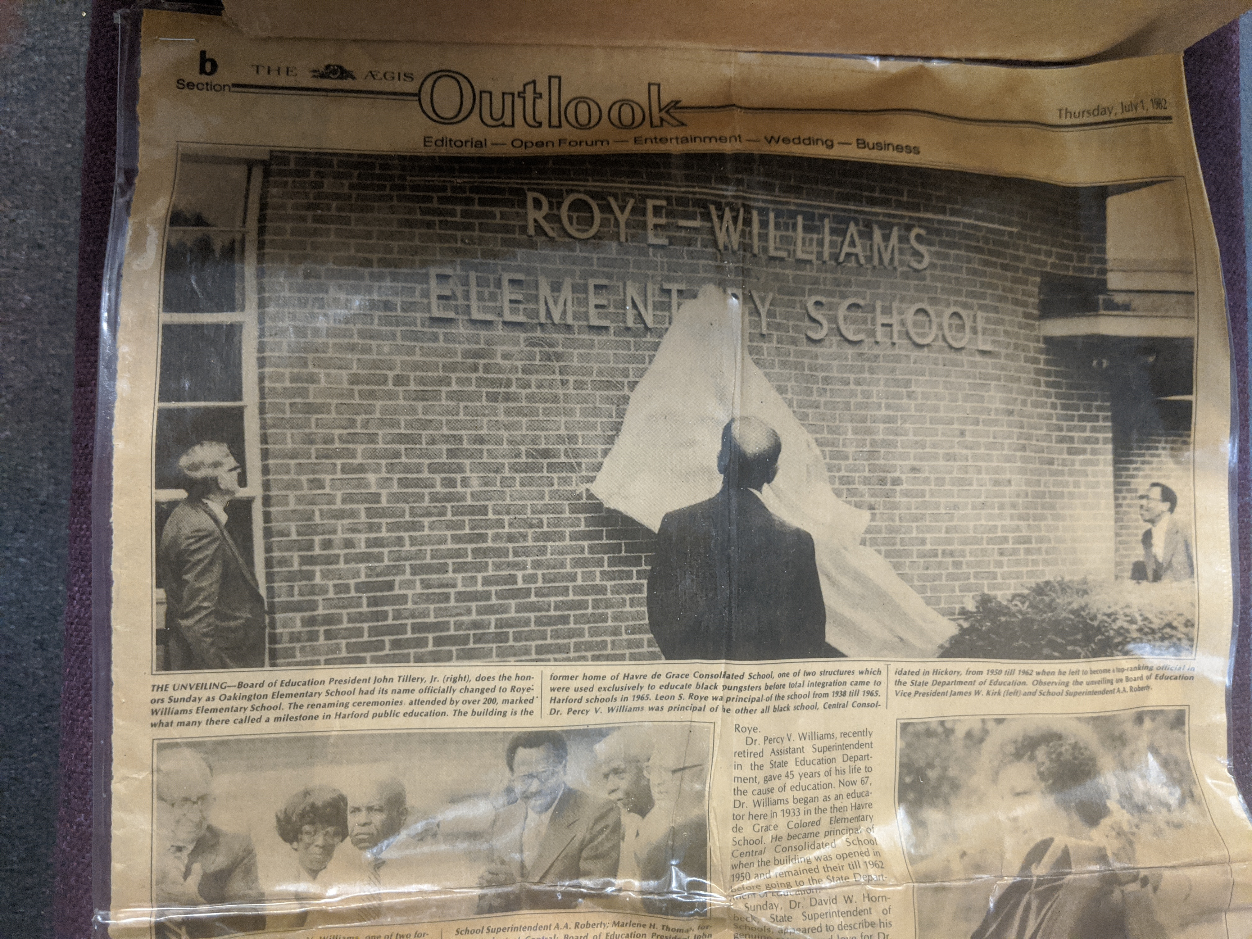 Reveal of the Renaming of Oakington to Roye-Williams
