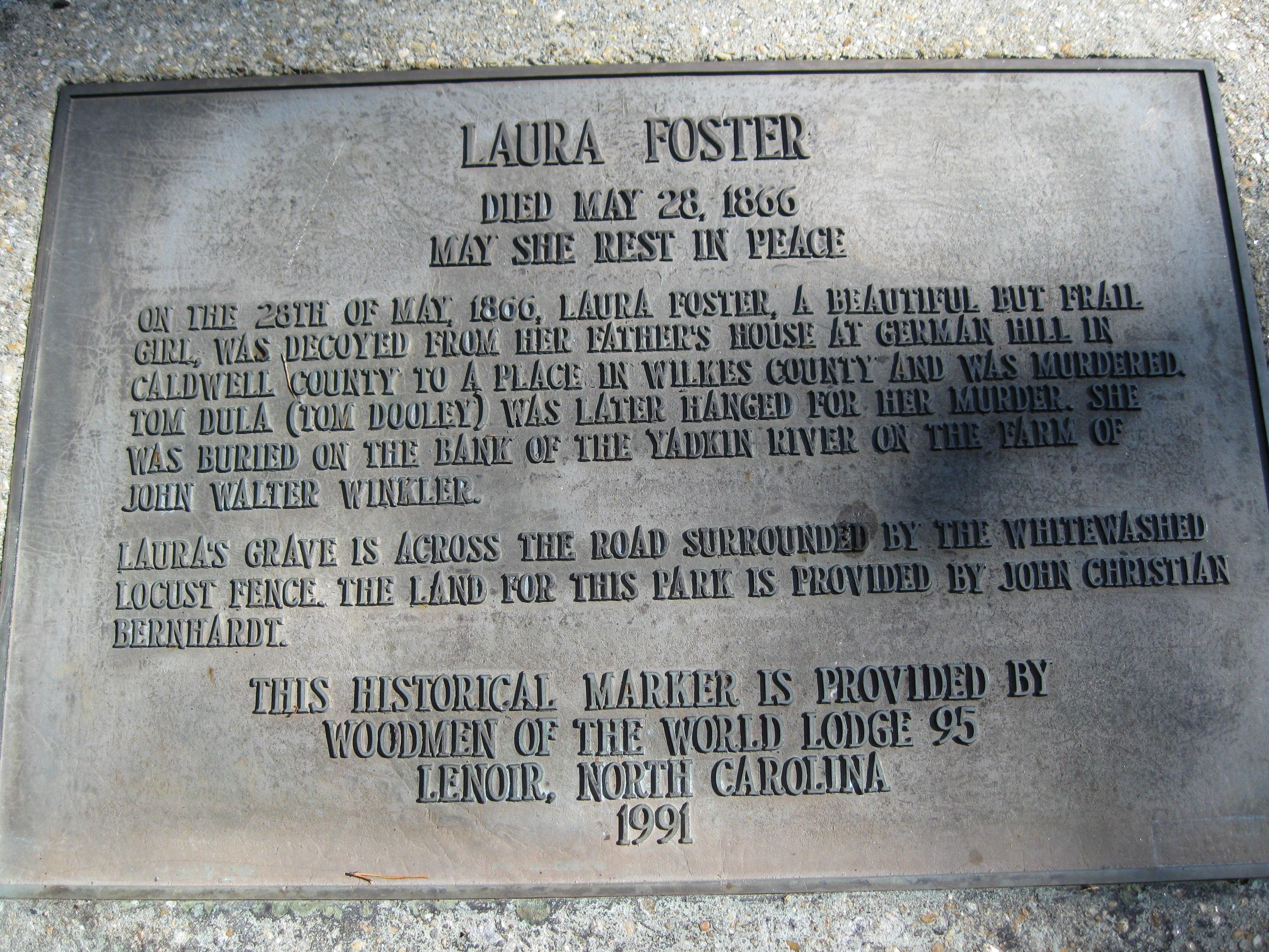 Laura Foster's Historic Marker