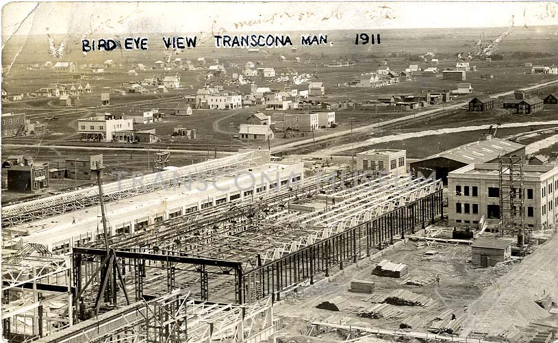 Aerial view of the CN Transcona Shops and the early community of Transcona