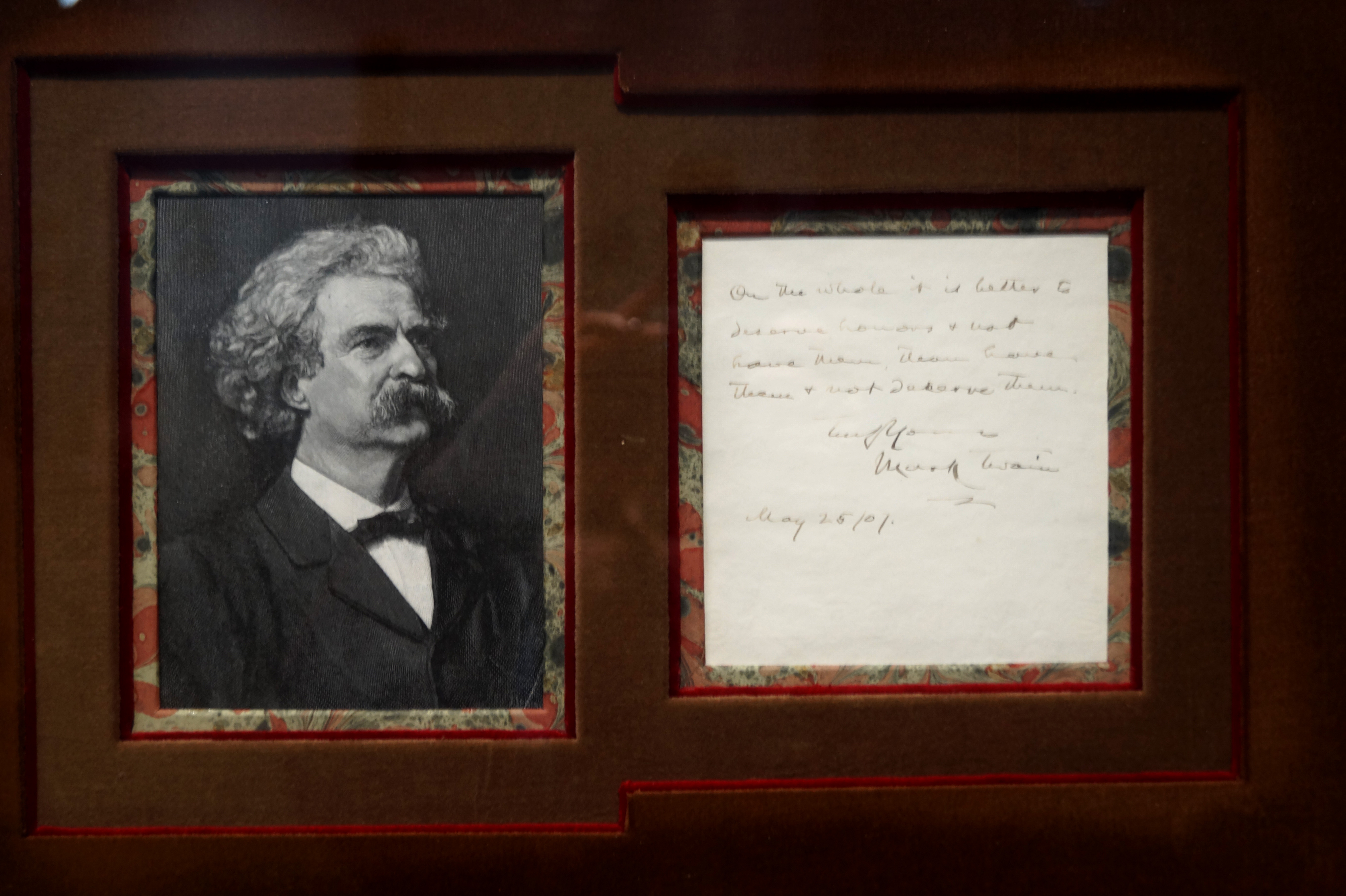 """This handwritten maxim is an example of an inscription Clemens might have written on the flyleaf of a book he was gifting to a family member or friend.   """"On the whole it is better to deserve honors and not have them, than to have them but not deserve them.  Truly Yours  Mark Twain May 25/07"""""""