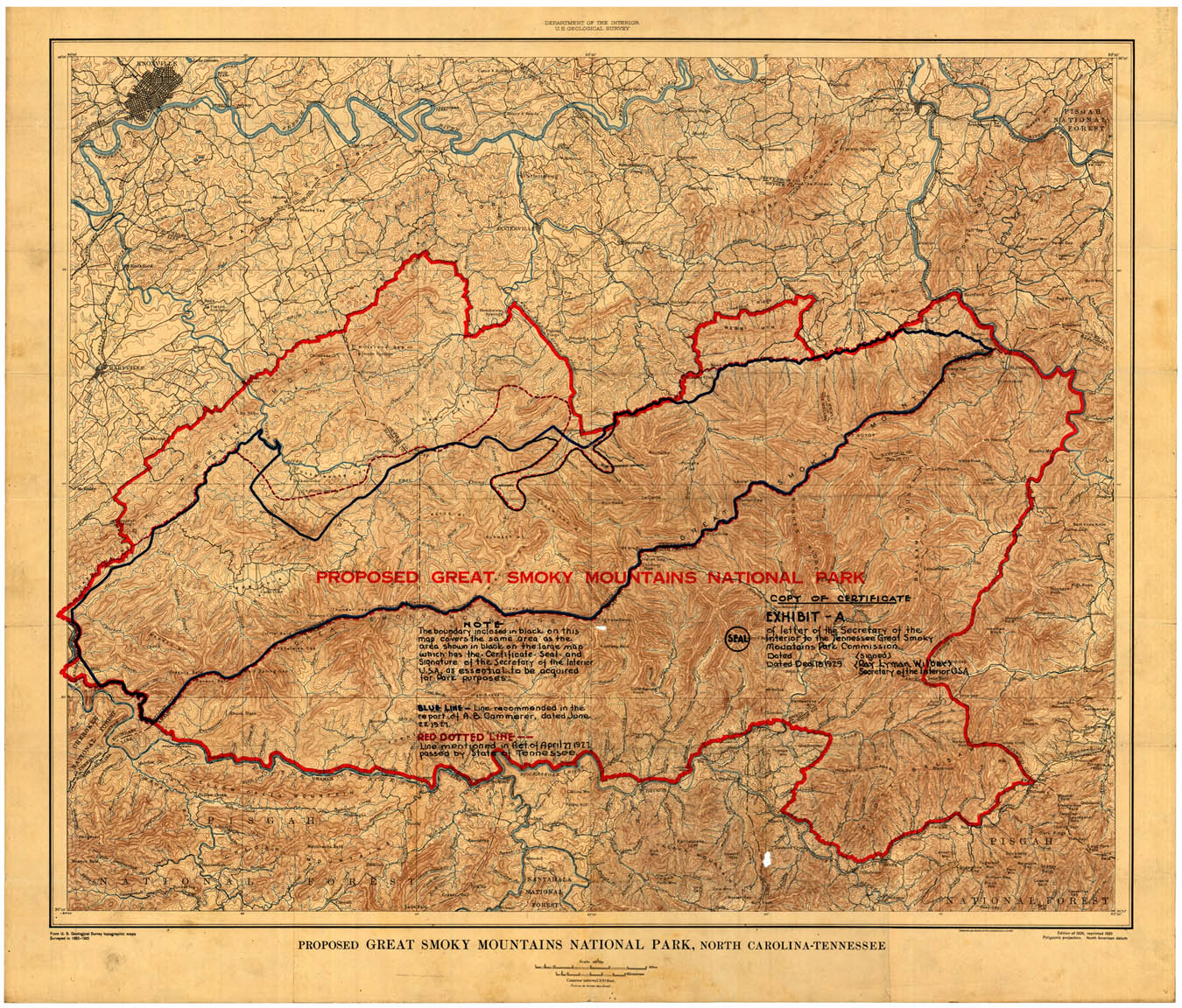 Proposed Map of the Great Smoky Mountains National Park