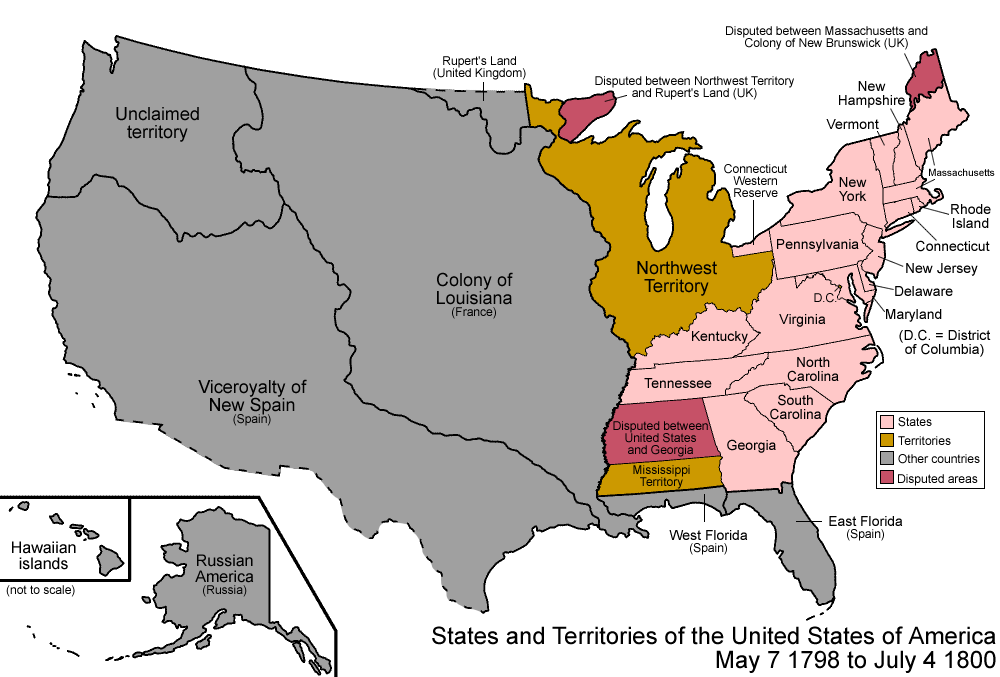 A U.S. Map a few years after Kentucky and then Tennessee were admitted to the Union.
