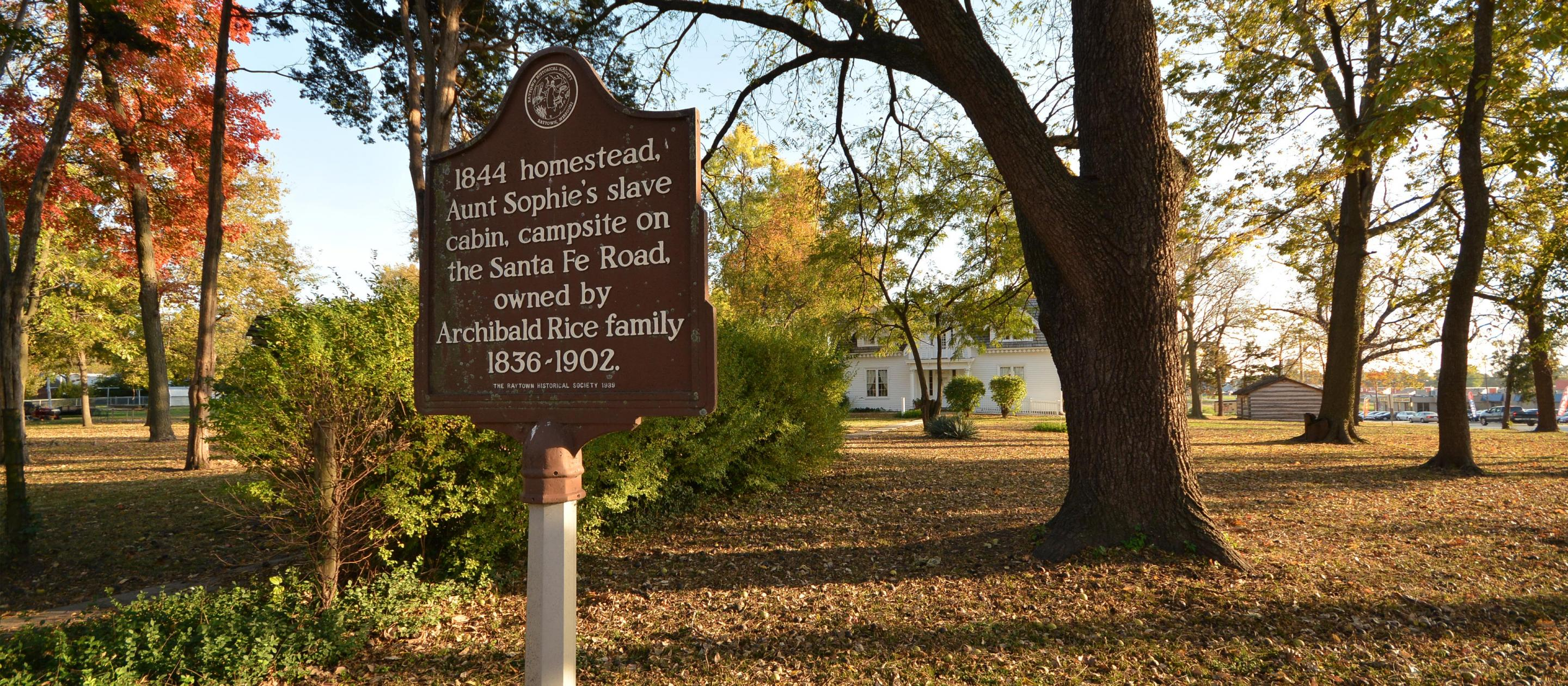 A historical marker on the grounds