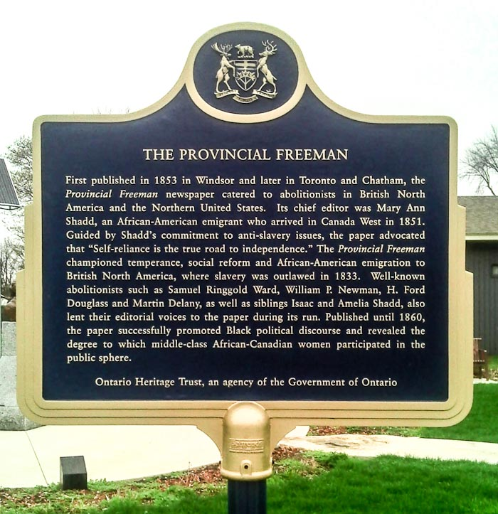 Plaque to Commemorate The Provincial Freeman