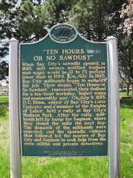Historical marker for the Saginaw Valley protests