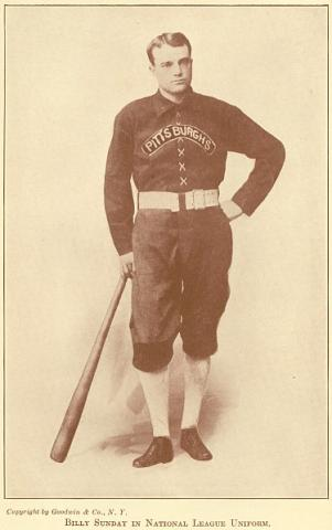 Billy Sunday in his uniform when he played for the Pittsburgh Alleghenys from 1888 to 1889. The team is now called the Pittsburgh Pirates.