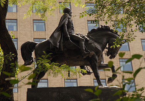 This statue was a gift of the Venezuelan government and was dedicated in 1921. A second statue of Bolivar was dedicated in Washington D.C. in 1959, a reflection of America's renewed interest Latin American affairs during the Cold War