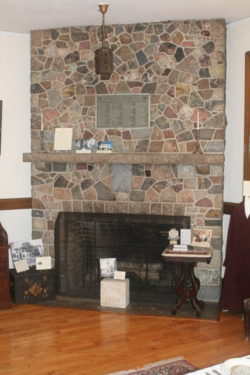 Fireplace on the first floor of the Hill Memorial.