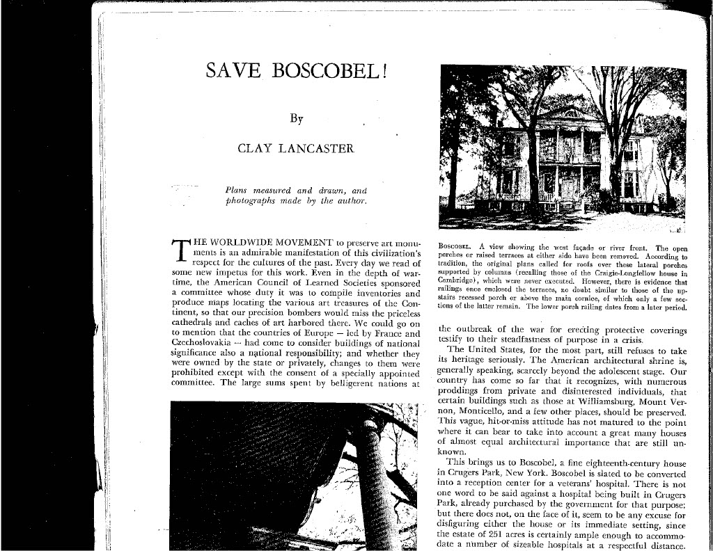 Save Boscobel magazine article