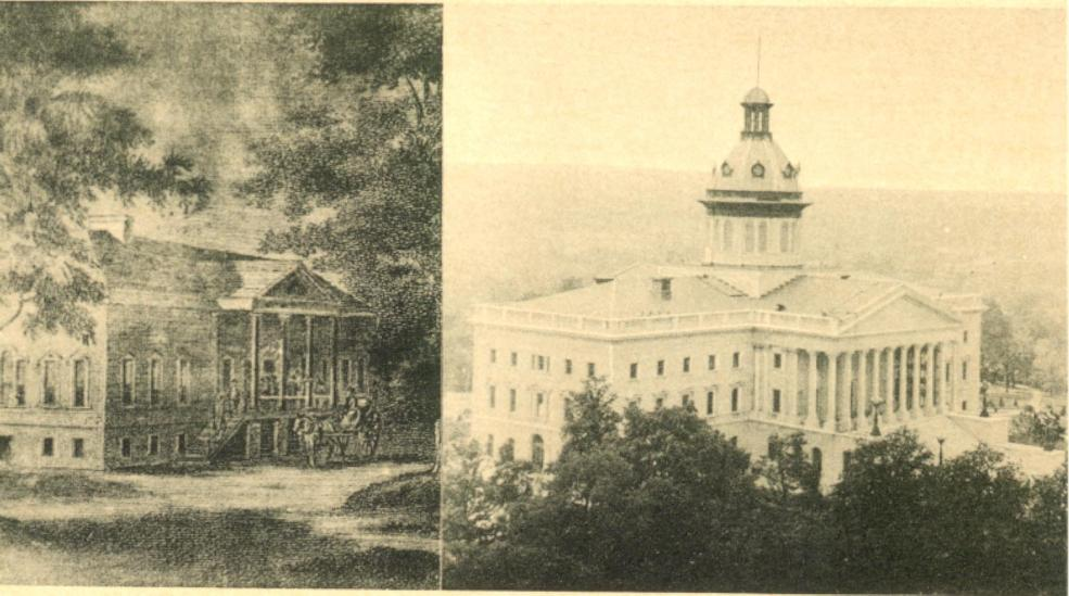 Postcard depicting the original State House/County Courthouse (1794) and the current State House, seen in 1936.