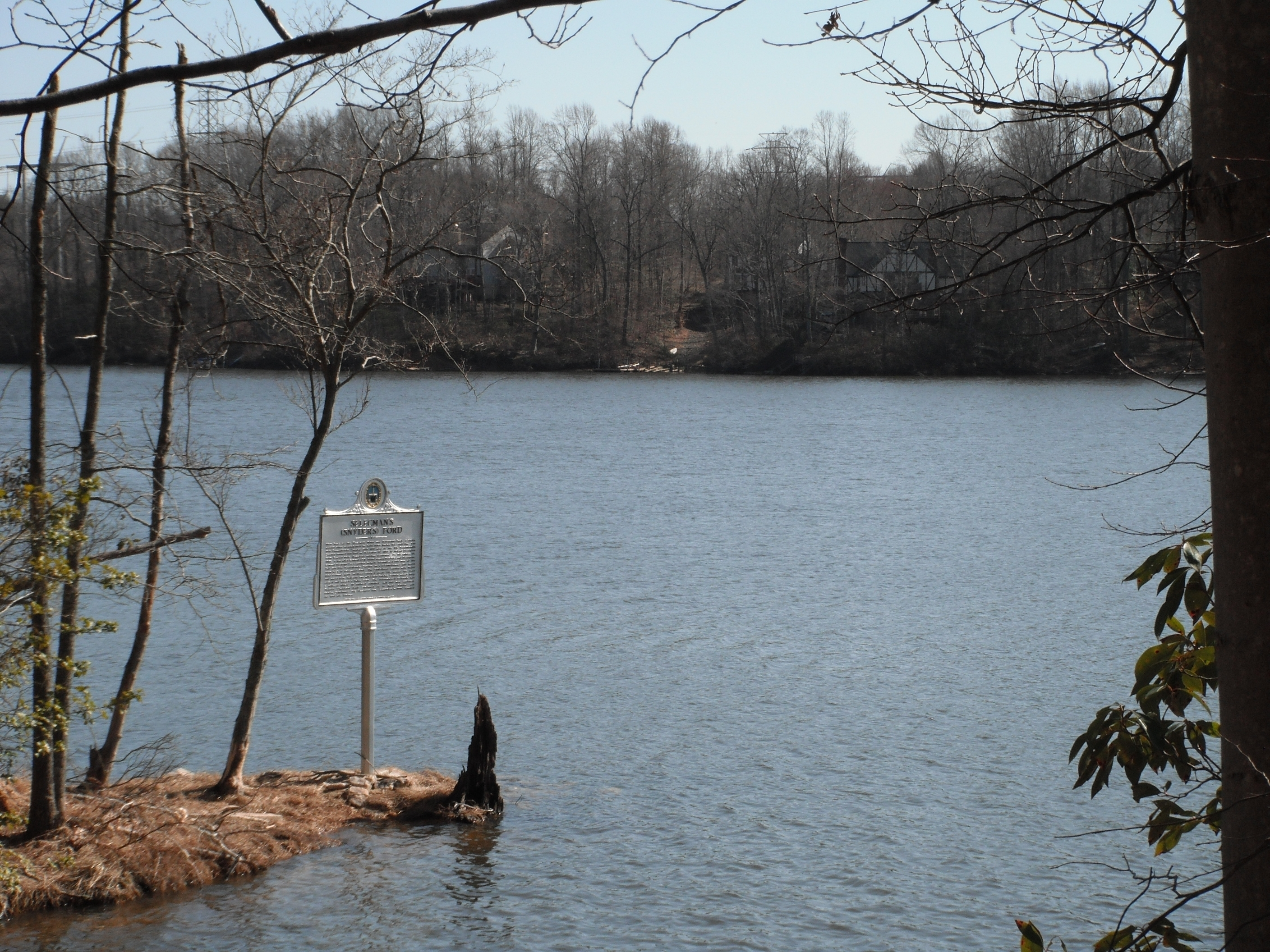 Looking at the marker and across the Occoquan Reservoir at Prince William County