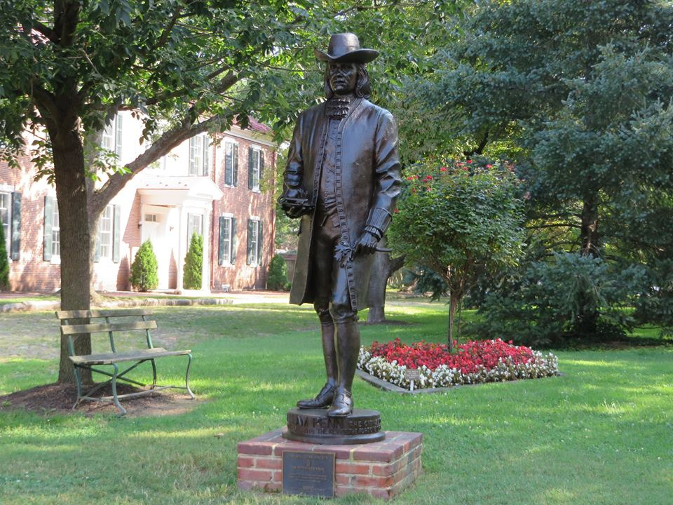 Statue of William Penn, who came to America from England and took his first step onto American soil in New Castle in 1862.