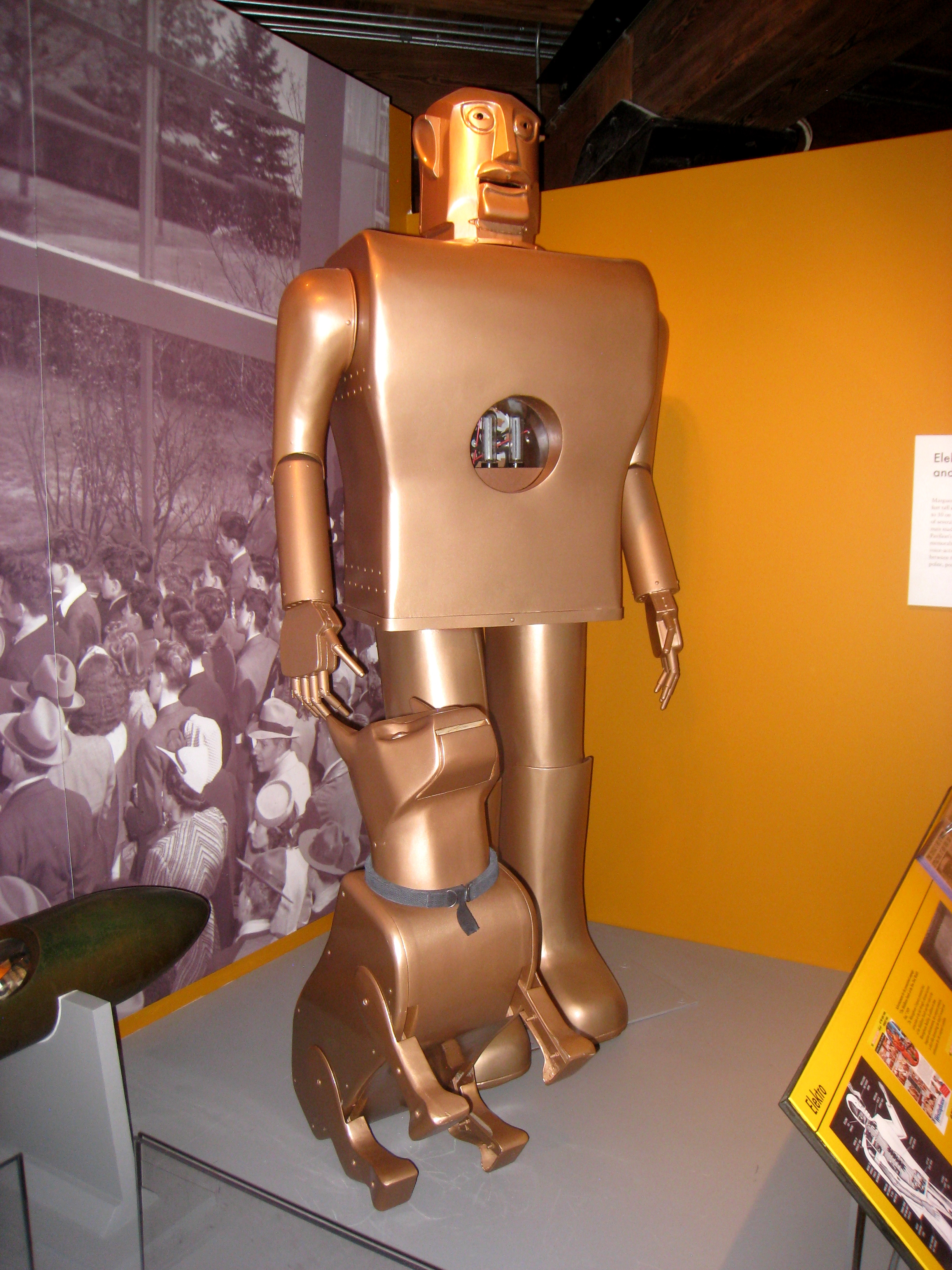 """A replica of """"Elektro the Moto-Man and his Little Dog Sparko"""" at the Senator John Heinz History Center in Pittsburgh. The original Elektro is housed in the Mansfield Memorial Museum."""