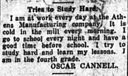 An interview with a child mill worker, Oscar Cannell, in Athens Daily Herald, 1914.